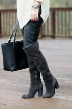 $300 Dolce Vita 'Ohanna' Over the Knee Boot OTK CHARCOAL SUEDE HEEL HOT 9.5 (W6)