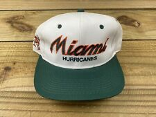 NWOT VTG 90's Sports Specialties Miami Hurricanes Script Snapback Hat White