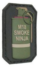 M18 SMOKE NINJA TACTICAL COMBAT BADGE MILITARY MORALE PVC OD GREEN VELCRO PATCH
