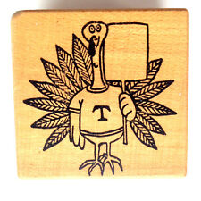 Thanksgiving Turkey Rubber Stamp Holds Funny Sign Word Bubble Holiday Humor Rare