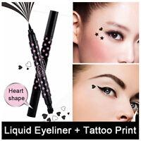 2 in 1 Heart Shape Stamp & Eyeliner Make Up Pen Black Waterproof Liquid Tattoo