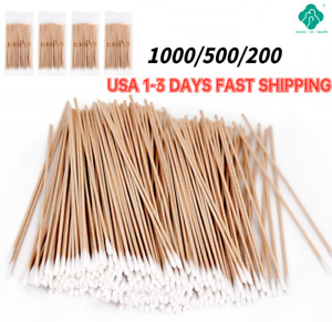 """1000/500 Long Wooden Cotton Swabs, Q-tip Swabs 6"""" Extra Long Wood Handle Clean"""