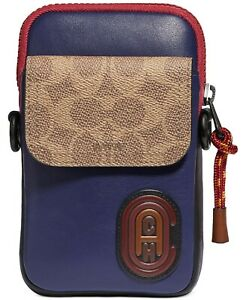COACH Men's Pacer Colorblocked Convertible Pouch unisex Saddle True Navy  F23216