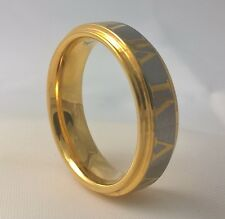 G-Filled Men's 18ct yellow gold Roman numerals ring band comfort fit AUS size Q