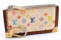 Auth Louis Vuitton Monogram Multicolor Pochette Cles White Coin Case LV A2409