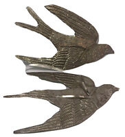 "Pair of Dove Christmas Ornaments 2 Embossed Tin Flying Birds 11"" x 6"" ea Preown"