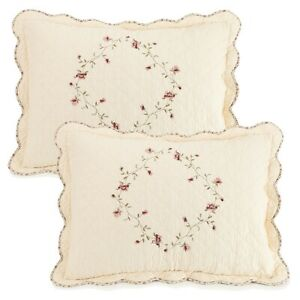 Better Homes & Gardens Hannalore 2 Quilted King Pillow Shams Set Embroidered