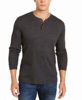 Club Room Mens Shirt Gray Size Small S Henley Longsleeve Waffle Knit $35 #160