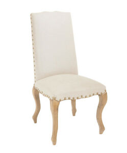 Classic French Provincial Fabric Dining Chair - Natural Linen 2x Pcs