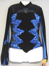 1-only BLUE+BLACK SEQUIN BLACK VELVET+STONES JACKET DANCE COSTUME-Size M