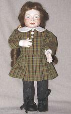 "15"" Porcelain Bisque Original Artist Doll Freckles Dimples Long Red Hair 1981"