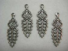Antiqued Silver Pl Victorian Filigree Drops Findings  4