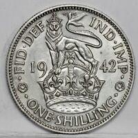 George VI 0.500 Silver English Shilling, 1942. Lustrous EF