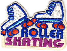 """ROLLER SKATING"" IRON ON EMBROIDERED APPLIQUE PATCH - Skates, Sports, Words"