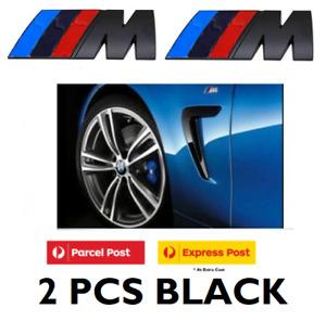 2 X BLACK M Emblem Side Fender Wing Sticker Badge for BMW M3 M5 X1 X3 X5 SPORT