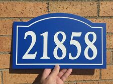 """Arched House Number Sign Address Plaque 14x8.5"""" Blue/White 1/4"""" King ColorCore"""