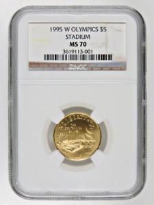 1995 W Olympics Stadium Gold $5 NGC MS70