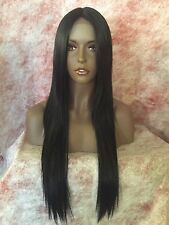 100% HUMAN HAIR BLEND BLACK STRAIGHT MIDDLE PART  LACE FRONT WIG