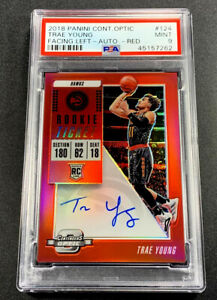 TRAE YOUNG 2018 CONTENDERS OPTIC RED #124 AUTOGRAPH AUTO RED ROOKIE /149 PSA 9