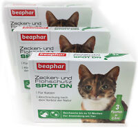 Spot On Protection Tiques Chats de Beaphar - 3 Emballages - = 9 Pipettes Á 0,8ml
