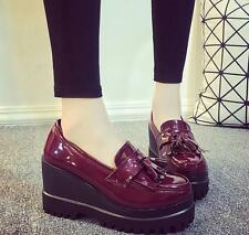 Women's Tassel Wedge Platform Loafers Slip On Patent Leather Shoes Creepers 546