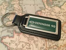 DEFENDER 90 110 Quality Black Real Leather Keyring Oblong