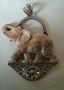 Sterling Silver Jasper Elephant Pendant