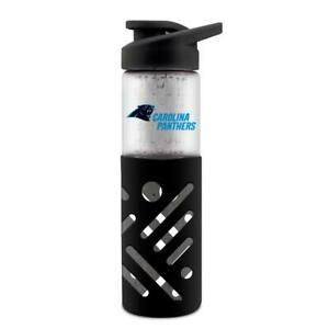 CAROLINA PANTHERS 23 oz GLASS WATER BOTTLE WITH SILICONE SLEEVE FROM DUCKHOUSE