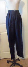DAVID N Black Linen Rayon Blend Lined High Rise Pleated Front Pant - 14