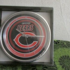 """New NFL, Chicago Bears 12"""" Chrome Wall Clock. 2012, Sold at Sears,"""
