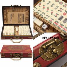 Portable 144Pcs Mah-Jong Bamboo Chinese Mahjong Rare Set&Retro Box Collectable