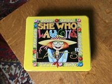 """Jc Penney Mary Engelbreit Tin Box with Lid """"She Who Laughs Last"""""""
