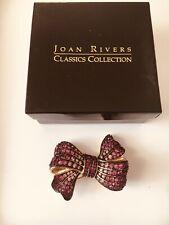 Joan Rivers Signed new Shades of Pink Rhinestones Bow Pin