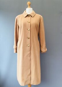 Vtg MANSFIELD Coat Wool Cashmere 50's Camel Land-girl WW Military 14 16 4B