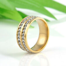 Unisex CZ Stainless Steel Ring Men Women Wedding Band Silver Gold Size 8-10 Ring