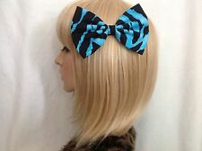 Zebra print large hair bow clip rockabilly pin up psychobilly gothic blue black