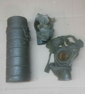 German gas mask items. Post war. The last items remain now. 2 masks dry.As shown