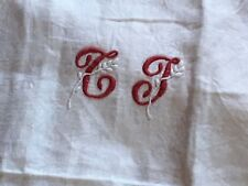 French Linen Napkins Monogramed Set of Four Red and White