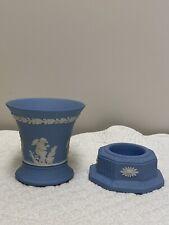 Vintage Wedgwood Blue Jasperware Candle Votive & Vase