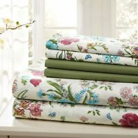 SHEET SET QUEEN 6 PIECE COTTON PERCALE PRINT SOFT DEEP POCKET  FREE WASH CLOTH
