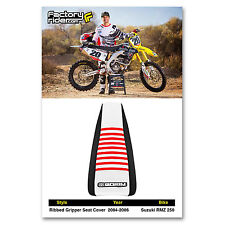 2004-2006 SUZUKI RMZ 250 Black/White/Red RIBBED GRIPPER SEAT COVER BY Enjoy MFG