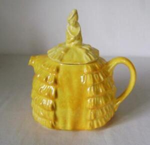Vintage Sadlers Crinoline Lady Shape Yellow Glazed Teapot: Art Deco Original