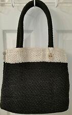 The Sak Elliott Lucca Black & White Crocheted Double Strap Handbag Purse