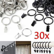 30 Pezzi metallo Anello per Tenda Anelli Tende Tondo con Clip Per Bastone Tenda