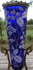 -Vase Verre Bleu émaillé Monture Bronze XIX ème siècle