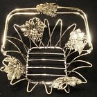 SILVER PLATED GRAPE BASKET WITH COLLAPSIBLE HANDLE