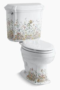 Kohler K-14247-FL-0 Portrait English Trellis Floral Flowers Two-Piece Toilet