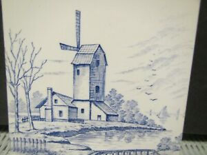 A. & E. Tile  Blue and White Windmill Overlooking the Dikes