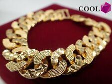Men Jewellery 18ct Yellow gold Solid Wide 12mm Crub Chain Women bracelet 8 inch