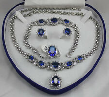 18K GP White Gold Blue Sapphire Set Earring Bracelet Necklace
